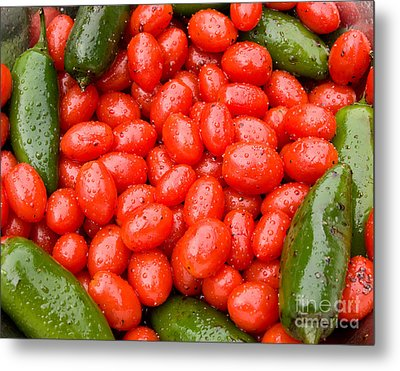 Hot Peppers And Cherry Tomatoes Metal Print by James BO  Insogna