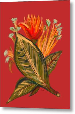 Metal Print featuring the digital art Hot Tulip L by Christine Fournier