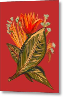 Metal Print featuring the digital art Hot Tulip R by Christine Fournier