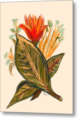 Metal Print featuring the digital art Hot Tulip Spring by Christine Fournier