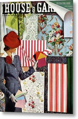 House & Garden Cover Illustration Of A Woman Metal Print by Joseph B. Platt
