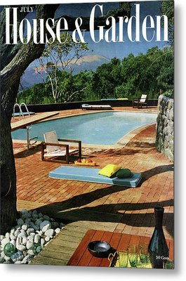 House And Garden Cover Featuring A Terrace Metal Print by Georges Braun