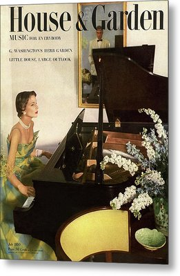House And Garden Cover Featuring A Woman Playing Metal Print