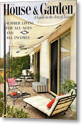 House And Garden Cover Of A Furnished Patio Metal Print by Julius Shulman