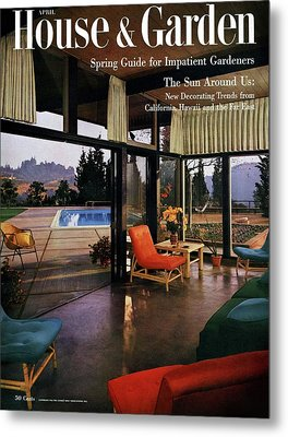 House And Garden Featuring A Living Room Metal Print by Julius Shulman