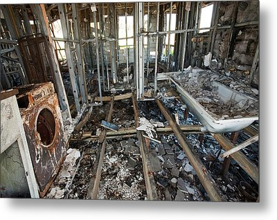 House Destroyed By Bush Fire Metal Print by Ashley Cooper