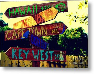 How Far Is It To Key West Metal Print by Susanne Van Hulst