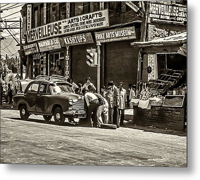 How To Change A Tire Sepia Metal Print by Steve Harrington