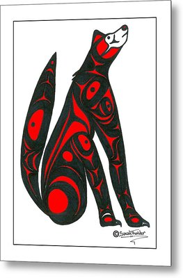 Howling Wolf Color Metal Print by Speakthunder Berry