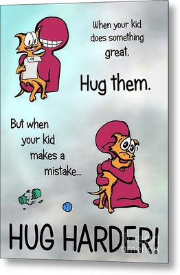 Metal Print featuring the drawing Hug Harder by Pet Serrano