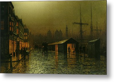 Metal Print featuring the painting Hull Docks By Night   by Arthur Grimshaw