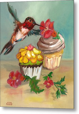 hummingbird with 2 Cupcakes Metal Print by Susan Thomas