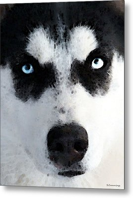 Husky Dog Art - Bat Man Metal Print