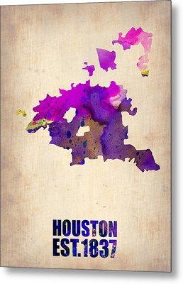 Huston Watercolor Map Metal Print by Naxart Studio
