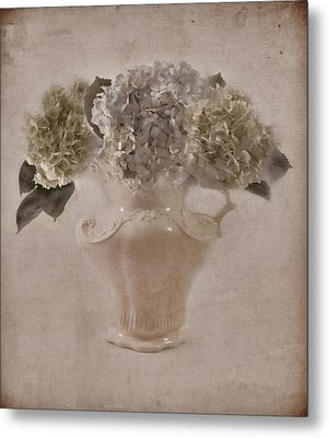 Metal Print featuring the photograph Hydrangeas In Cream Pitcher by Sandra Foster
