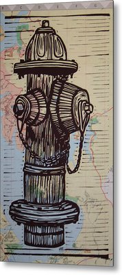 Hydrant On Map Metal Print by William Cauthern