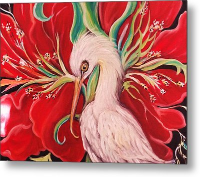 Ibis And Red Flower Metal Print by Yolanda Rodriguez