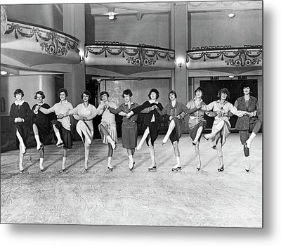 Ice Skating Ballet Troupe Metal Print by Underwood Archives
