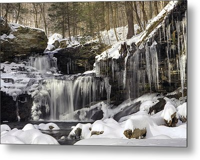 Metal Print featuring the photograph Icicles Decorate R. B. Ricketts Waterfall by Gene Walls