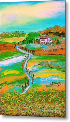 Metal Print featuring the painting  Tuscan Countryside by Loredana Messina