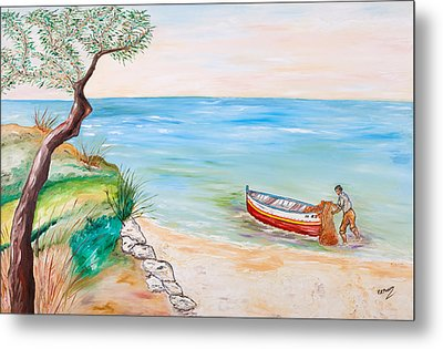Metal Print featuring the painting Il Pescatore Solitario by Loredana Messina