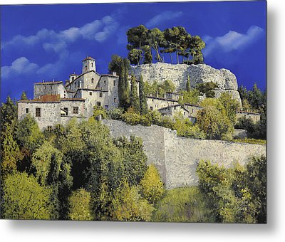Il Villaggio In Blu Metal Print by Guido Borelli