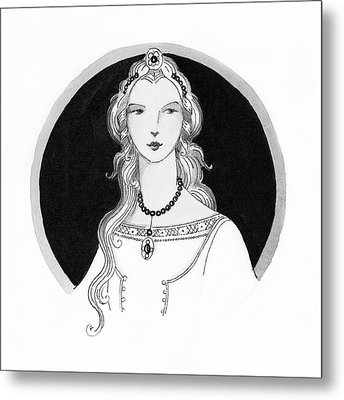 Illustrated Portrait Of A Woman Metal Print by Claire Avery