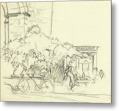 Illustration Of A Cafe Scene Metal Print