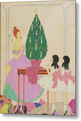 Illustration Of A Mother And Twin Girls Metal Print by Helen Dryden