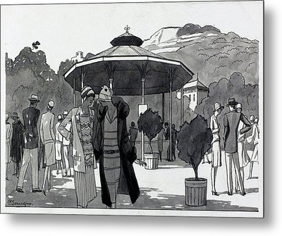 Illustration Of A People At A Fountain In Aix Les Metal Print