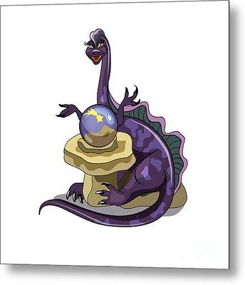 Illustration Of A Plateosaurus Fortune Metal Print by Stocktrek Images