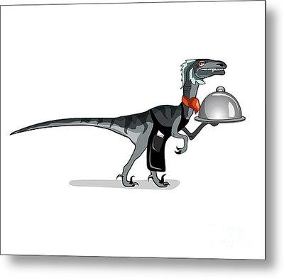 Illustration Of A Raptor Food Waiter Metal Print by Stocktrek Images