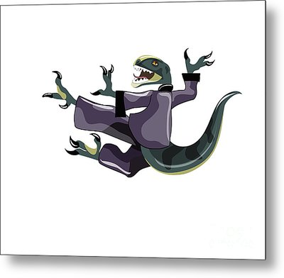 Illustration Of A Raptor Performing Metal Print by Stocktrek Images