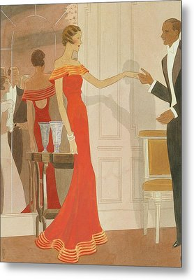 Illustration Of A Woman At A Debutante Ball Metal Print
