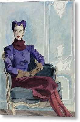 Illustration Of A Woman In An Armchair Metal Print