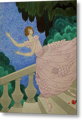 Illustration Of A Woman Running Down A Staircase Metal Print
