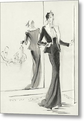 Illustration Of A Woman Standing Beside A Mirror Metal Print