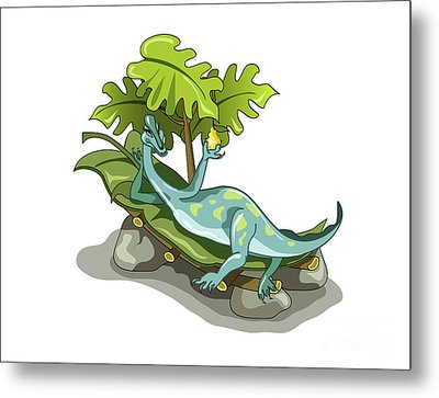 Illustration Of An Iguanodon Sunbathing Metal Print by Stocktrek Images