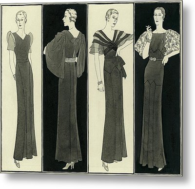 Illustration Of Four Women In Evening Dresses Metal Print by Polly Tigue Francis