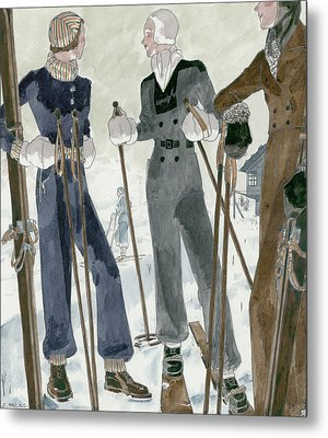 Illustration Of Three Women Wearing Ski Suits Metal Print