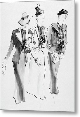 Illustration Of Three Women Wearing Skirt Suit Metal Print by Rene Bouet-Willaumez