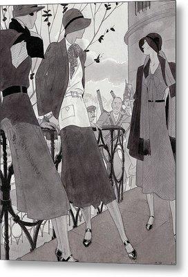 Illustration Of Three Women Wearing Stylish Suits Metal Print