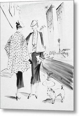 Illustration Of Two Fashionable Women Metal Print by Rene Bouet-Willaumez