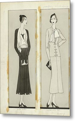 Illustration Of Two Women In Elegant Fashion Metal Print by Douglas Pollard