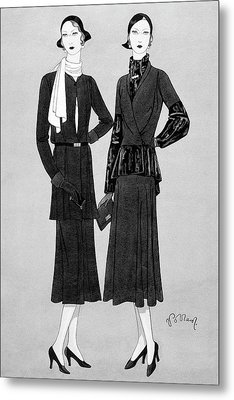 Illustration Of Two Women In Lavin Suits Metal Print by Douglas Pollard