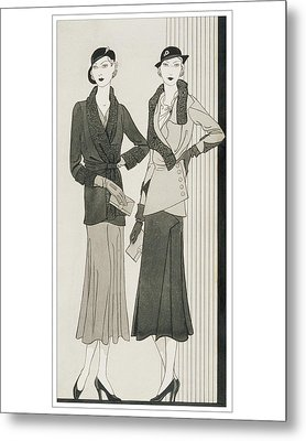 Illustration Of Two Women Modeling Suits Metal Print