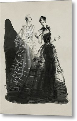 Illustration Of Two Women Wearing Evening Gowns Metal Print by Rene Bouet-Willaumez