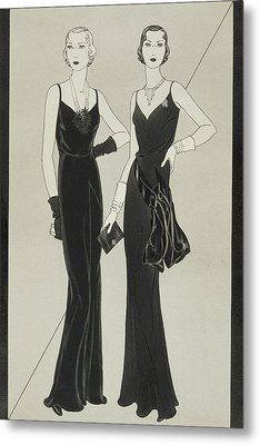 Illustration Of Two Women Wearing Mainbocher Metal Print by Douglas Pollard