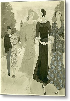 Illustration Of Wedding Guests At A Country Metal Print by Barbara E. Schwinn