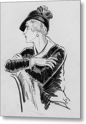 Illustration Of Woman Wearing Franklin Simon Hat Metal Print